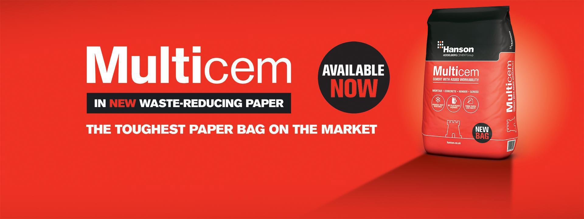 Multicem available in waste reducing paper.